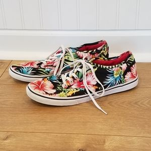 Vans Authentic Style Black Floral Sneakers 7.5